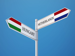 Netherlands Hungary  Sign Flags Concept