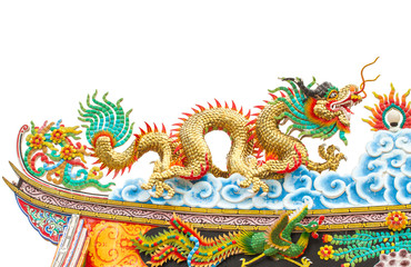 Chinese style dragon statue on white isolated
