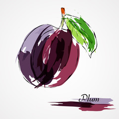 Violet plum fruit