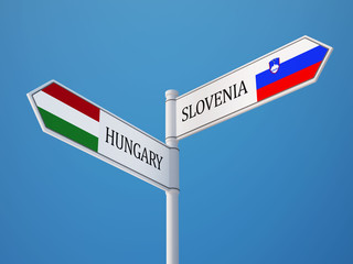 Slovenia Hungary  Sign Flags Concept