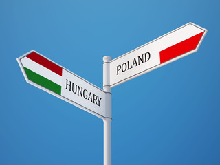 Poland Hungary  Sign Flags Concept