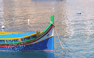 Details of Traditioanl fishermen boat in Spinola bay