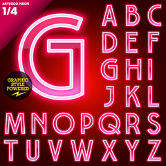 Abstract neon tube alphabet for light board. Red Art deco