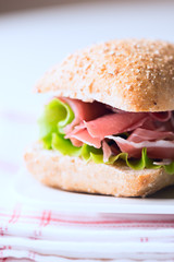 Prosciutto sandwich on plate macro vertical
