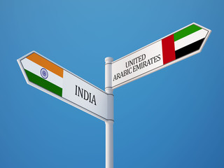 United Arab Emirates. India  Sign Flags Concept