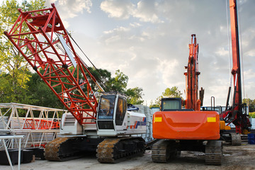 modern orange excavator machines