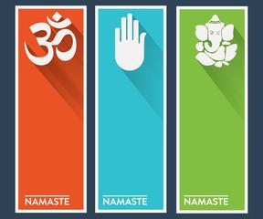 Namaste Yoga Flat Style Greeting Cards - Banners