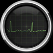 The cardiogram on the cardiomonitor screen in green tones