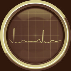 The cardiogram on the cardiomonitor screen in brown tones
