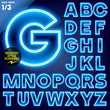 Abstract neon tube alphabet for light board. Ultra bold Blue