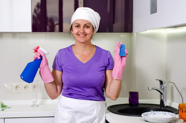Cute happy playful housewife