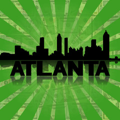 Atlanta skyline reflected dollars sunburst illustration