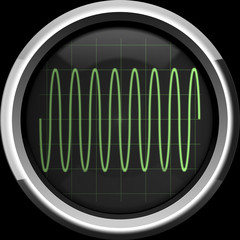 Sine signal on the oscilloscope screen in green tones