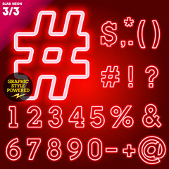 Abstract neon tube alphabet for light board. Slab Red