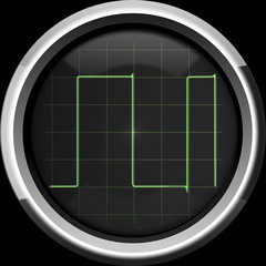 Rectangular signal on the oscilloscope screen in green tones