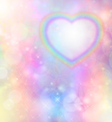Rainbow heart on rainbow bokeh background