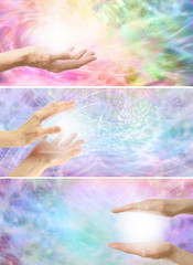 Healing hands on rainbow energy background x 3