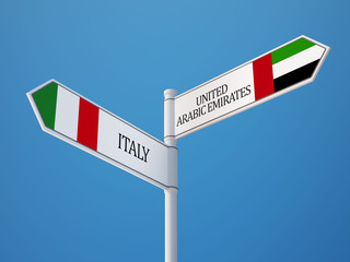 United Arab Emirates. Italy  Sign Flags Concept