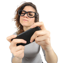 Geek woman playing with a smart phone