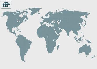 Çok küçük noktalarla  Dünya haritası