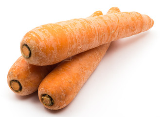 Three carrot on a white background