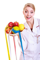 Woman doctor dietitian in lab coat healthy food. Diet.