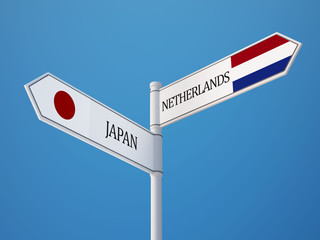 Netherlands Japan  Sign Flags Concept