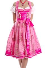 Modische Trachtenkleid aus Bayern genannt Dirndl in Rosa Pink