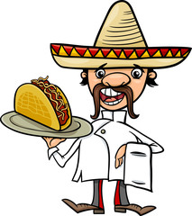 mexican chef with taco cartoon illustration