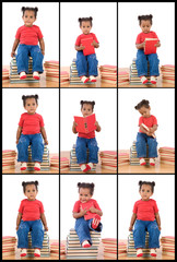 Collage with many photos of african baby and books