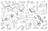 Fototapety doodle set of school related items
