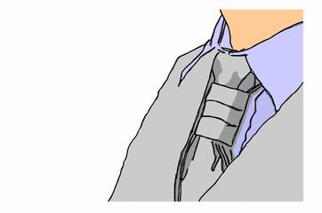 giacca e cravatta su sfondo bianco