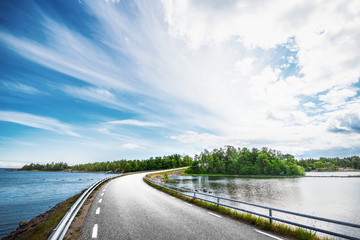 Coast road in the middle of Sweden