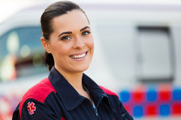 young female paramedic