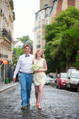 Happy just married couple on Montmarte