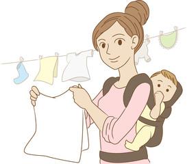 子供をおんぶしながら家事をする女性