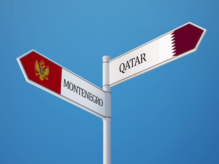 Qatar Montenegro.   Sign Flags Concept