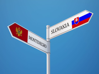 Slovakia Montenegro.   Sign Flags Concept