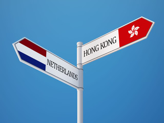 Netherlands Hong Kong  Sign Flags Concept
