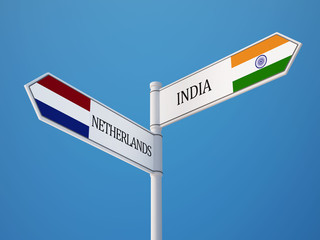 Netherlands India  Sign Flags Concept