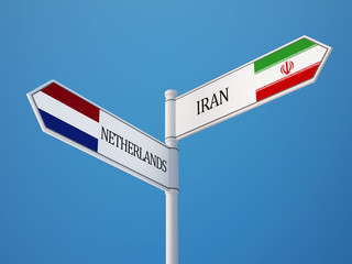 Netherlands Iran  Sign Flags Concept