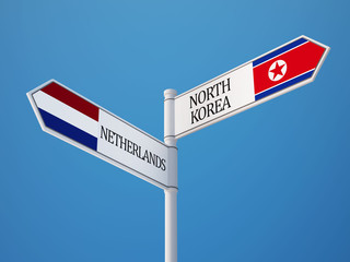 Netherlands North Korea  Sign Flags Concept