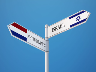Netherlands Israel  Sign Flags Concept