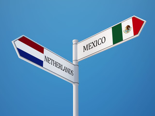 Netherlands Mexico.  Sign Flags Concept