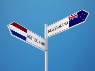 New Zealand Netherlands  Sign Flags Concept