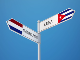 Cuba Netherlands  Sign Flags Concept