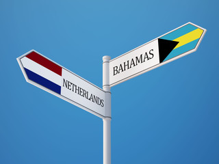 Bahamas. Netherlands  Sign Flags Concept