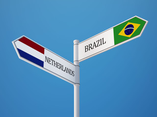 Brazil Netherlands  Sign Flags Concept