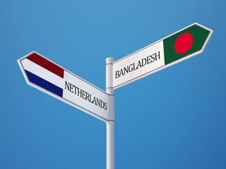 Bangladesh Netherlands  Sign Flags Concept
