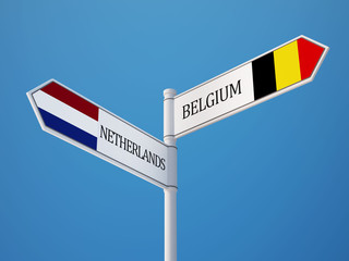 Belgium Netherlands  Sign Flags Concept